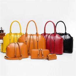$enCountryForm.capitalKeyWord Australia - 4 Piece set Retro Oil Wax PU Leather Bag Portable Diagonal Package Shoulder Bag Women Handbag Crossbody Bags Purse Women Totes