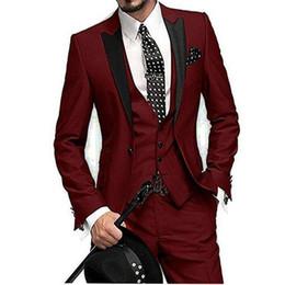 images three piece wine suit 2019 - Popular One Button Wine Wedding Groom Tuxedos Peak Lapel Groomsmen Men Formal Prom Suits (Jacket+Pants+Vest+Tie) W205