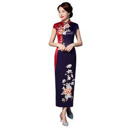 ade50b330 Navy Blue Stylish Ladies Chinese Traditional Dresses Rayon Qipao Splice  Mandarin Collar Sexy Cheongsam Plus Size M-XXXXL