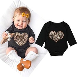 $enCountryForm.capitalKeyWord NZ - Babys Girls Clothes Toddler Infant Baby Girl Leopard Heart Printed Long Sleeve Jumpsuit Romper Clothes Baby Girls Romper JY03