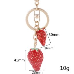 strawberry key Australia - Charm Purse Pendant Lovely Strawberry Crystal Rhinestone Keychain Handbag Bag Decoration Holiday Gift Key Chain Sparkling Key Ring
