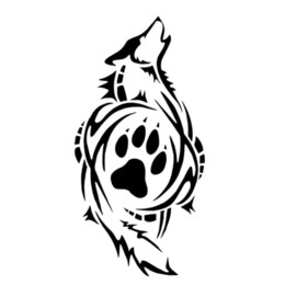 $enCountryForm.capitalKeyWord UK - Matte Black Tribal Wolf Paw Print Sticker Fun Window Decal Fun Packaging Personalized Accessories