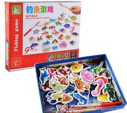 $enCountryForm.capitalKeyWord NZ - 32 piece Baby Wooden magnetic fishing game puzzle toys kids infant funny Puzzles Toy children birthday Gift toy set with colorful box