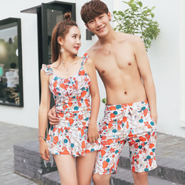 a9af17aaa3 Lovers Swimsuit Sexy Bikini With Pad Slim Swimming Skirt Trunks Shorts  Pants For Women Men Bathing Suit Hot Spring Swim Gym Wear Couples 40