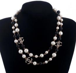 Großhandel Lange Strickjacke-Ketten-Kragen-Maxi-Halskette simulierte Perle Blumen-Halsketten-Frauen-Art- und Weiseschmucksachen Bijoux Femme Weihnachtsgeschenke Freies Verschiffen