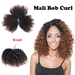 synthetic afro hair sale NZ - Hot Sale! Marlybob Kinky Curl Crochet Hair 8 Inch (3 Bundles pack) Mali Bob Crochet Braiding Hair Afro Kinky Curl Hair Extensions for Women