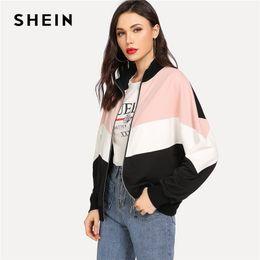 3e67cf895f Shein Multicolor Preppy Minimalist Drop Shoulder Cut And Sew Colorblock  Casual Jacket 2018 Autumn Elegant Women Coat Outerwear J190403