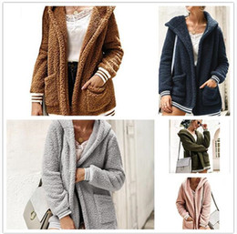 Wholesale sherpa jacket women resale online - 20pcs Women Plush Sherpa Hooded Outerwear Pocket hoodie Coat Warm Sweater Outdoor Casual Long Outwear warm Jacket overcoat M523overcoat M523