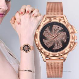 White Rose Pattern Australia - Women's Watches Bracelet Rose Gold Luxury Rhinestone Pattern Dial Dress Quartz Wrist Watch Ladies Fashion Metal Belt Clock