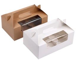 Cupcake Boxes Kraft Paper Australia - Brown White 6 Cupcake box Kraft paper cake boxes and packaging with handle Wedding gift box Packaging box