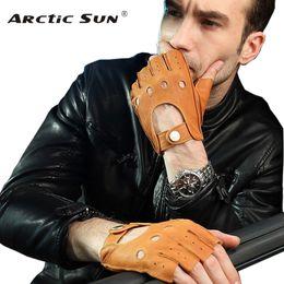 $enCountryForm.capitalKeyWord Australia - Fashion 2019 Men Deerskin Gloves Wrist Half Finger Driving Glove Solid Adult Fingerless Mittens Real Genuine Leather Em001w T190618
