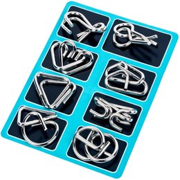 Brain teaser puzzle toys metal online shopping - Nine Ring Interlocking Set Links Game Chinese Puzzle Kids Adult Brain Teaser Toy D Puzzle Intelligence Toys Souvenirs CCA11732