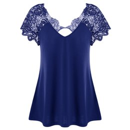 Women Plus T Shirts Australia - Gamiss Plus Size Cutwork Lace Up Trim Loose T-shirt Women Casual Short Sleeve Hollow Out Summer Tees Top Female Fashion Shirts Y19042702