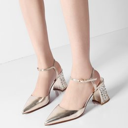 $enCountryForm.capitalKeyWord Australia - Hot Sale-New Style Spring One Word Cingulum Sandals Woman Rhinestone Thick Heel Pointed Shallow Mouth Party Shoes Woman Fashion High Heels