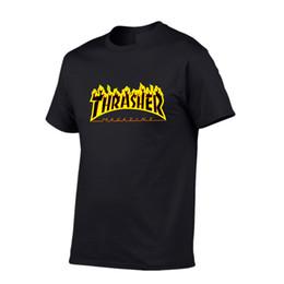 $enCountryForm.capitalKeyWord NZ - Best seller Short sleeve brand T-shirt THRASHER pattern Pure cotton Thin material T-shirt USA Best seller Skate flame Hip hop Leisure wear