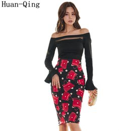 $enCountryForm.capitalKeyWord Australia - Summer Korean Office 2 Piece Set Women Sexy Slash Neck Off Shoulder Sleeve Shirt Tops + Printed Pencil Skirt Two Piece Set Suits