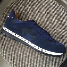 $enCountryForm.capitalKeyWord Australia - New Men Women Blue Suede With Blue Camouflage Canvas Patchwork Low Top Sneakers,Designer Brand Lovers Rivets Casual Shoes 35-45Drop Shipping