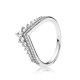 top wedding crowns UK - ZR107 Crown Princess Wishes women size 6-9 big brand 925s silver ring Diamond top quality hot sell single lover Christmas gift Pandor ring