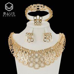 Big Sets Beads Australia - BAUS 2018 big Nigerian jewelry sets dubai gold Color jewelry set Wholesale bridal bead wedding Jewelry set Women costume design