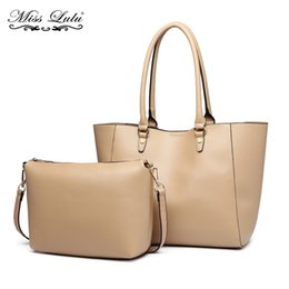 45177246587e Miss Lulu Women PU Leather Shoulder Bags Handbags Totes Ladies Fashion Top-handle  Bag Large Shopper Set Beige Two In One YD6895