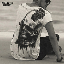 Print Tees Australia - Men Summer Printed Skull Cotton Short Sleeve T-shirt Men Fashion High Quality New Design Hot Sale T-shirt Men Top Tees T4366 Y19042005