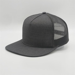 quality black blank hats Australia - Wholesale Custom Gray Blank Trucker Hat,5 Panel Mesh Snapback Cap,Plain High Quality Flat Brim Hats