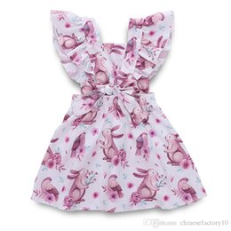 Ins Baby Girls Dress Maniche volanti Cartone animato Coniglio Stampa Abiti Fasciatura senza schienale Easter Kids Princess Clothing