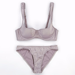 32 bra sets online shopping - Satin smooth women sexy bra brief set cup thin cotton cup fashion lady brassiere sets push up euramerican lingerie suit