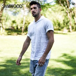 linen slim shirts Australia - Simwood 2019 New Summer Short-sleeved Shirts Men 100% Linen White Slim Fit Plus Size High Quality Tops Hooded Shirt 180034