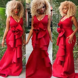 holiday evening gowns floor length Australia - Sexy Deep V Neck Mermaid Prom Dresses Red Ruffles Plus Size Floor Length Evening Gowns Fitted Summer Holiday Dresses Evening Wear 2019
