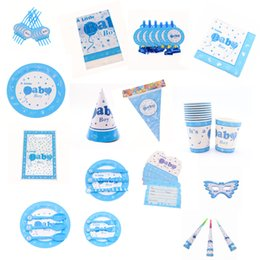 $enCountryForm.capitalKeyWord Australia - New Blue Baby Boy Birthday Party Decoration Kids Fork Plate Cup Napkin Baby Shower Supplies Party Favor Disposable Tableware