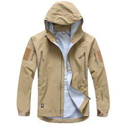 Wholesale windbreaker shell resale online – Outdoor Waterproof Hard Shell Tactical Jacket Men Camouflage Hooded Hardshell Thin Pressure Glue Windbreaker Coat Tops
