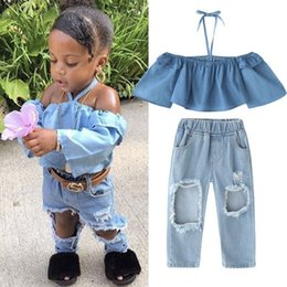 2250deea2 2pcs Newborn Infant Baby Kids Summer Outfits Baby Girls Off Shoulder  Clothing Toddler Kids Tops Denim Pants Hole Jeans Outfits Clothes