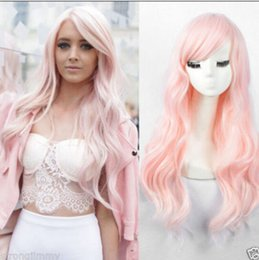 $enCountryForm.capitalKeyWord Australia - Hot Female Wavy no Lace Wig fashion long curly light pink hair full wigs>>>>>Free shipping New High Quality Fashion Picture wig