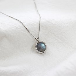 $enCountryForm.capitalKeyWord Australia - necklace with box Real Pure 925 Sterling Silver Labradorite Pendant Necklace With Box Chain Simple Elegant Natural Stone Pendant For Women
