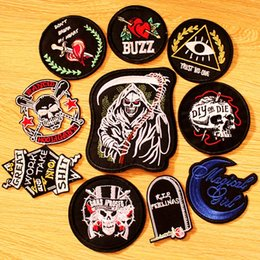 $enCountryForm.capitalKeyWord Australia - DIY Rock Band Patch Embroidered Patches For Clothing Iron On Patches On Clothes Punk Hippie Patch Biker Badges Black Applique
