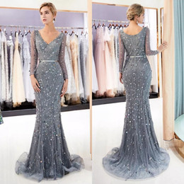heavy red evening gowns NZ - 2019 Luxury Evening Dresses Woman V Neck Mermaid Hand-made Shiny Heavy Beaded Grey Lace and Tulle Formal Long Sleeve Evening Gowns