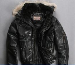 $enCountryForm.capitalKeyWord Australia - 2016 AVIREX leather bomber down coats sports jacket men short style thick sheep skin genuine leather down jacket Rib sleeve