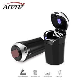 Wholesale 3 in Rechargeable Car LED Ashtray Car Trash Can Removable Cigarette Lighter LED Light for Car Cup Holder