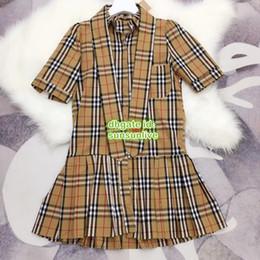 $enCountryForm.capitalKeyWord NZ - High End Women Vintage Shirt Pleated Dress Vest With Plaid Print Lapel Neck Dress Girls A-Line Runway Mini Skirt Female Above Knee Dress