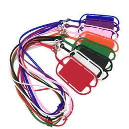 phone holder lanyard Canada - Silicone Lanyards Neck Strap Necklace Sling Card Holder Strap For iPhone X 8 Universal Mobile Cell Phone