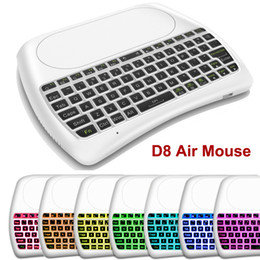 China D8 7 Colors Backlight Air Mouse Wireless Mini Keyboards with Big Touchpad Remote Control for TV Box Projector White Black Controller suppliers