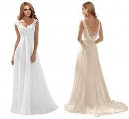 $enCountryForm.capitalKeyWord Australia - Romantic Back Lace Wedding Dresses 2019 Empire Applique Lace Chiffon Backless Sweep Train White Ivory Bridal Gowns Cheap vestidos