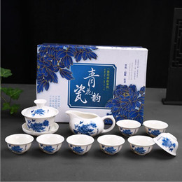 $enCountryForm.capitalKeyWord Australia - 2019 Chinese traditional Tea set gift box kungfu blue and white porcelain tea sets are 8cup
