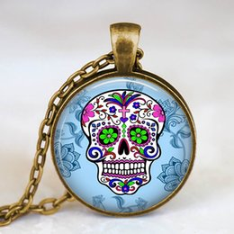 day dead pendants Australia - Mexican Skeleton Pendant Day Of The Dead Necklace Antique Bronze Chain Glass Cabochon Jewelry Statement Necklace Classic