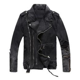 Motorcycle Jackets Fashion Australia - New Fashion Hi Street Mens Ripped Denim Jackets With Multi Zippers Streetwear Distressed Motorcycle Biker Jeans Jacket