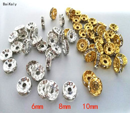 gold rhinestone bead spacers NZ - 500pcs 6mm 8mm 10mm Gold Silver Color Rhinestone Rondelles Crystal Bead Loose Spacer Beads for DIY Jewelry Making Accessories