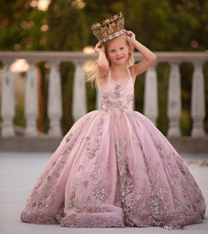 girls pageant dresses baby pink Australia - Lovely Baby Hot Pink Flower Girl Dresses Spaghetti Strap Sleeveless Tulle Applique Sequins Layered Princess Beaded Girls Pageant Dresses