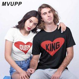 f872020ae King Queen Letter Print Casual Couples T Shirt Valentine men Women Femme  Loves O-Neck Tee Tops Shirt Summer Cotton Clothes
