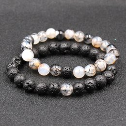 $enCountryForm.capitalKeyWord Australia - Black Lava Volcanic Stone Beads Bracelets Natural Stone Energy Bangle Yoga Charm Bracelet For Men Women Couple Jewelry Accessories M477A